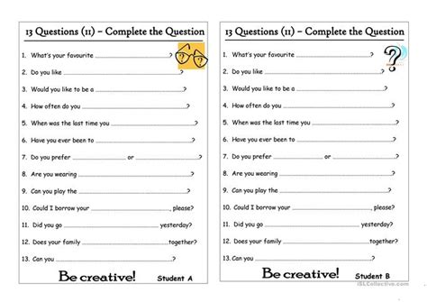 questions  complete  question worksheet