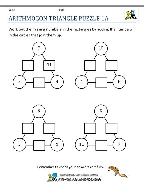 maths number puzzles with answers pdf printable math