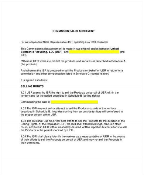 sales commission agreement templates