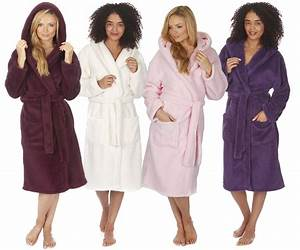 ladies women39s soft snuggle fleece hooded dressing gown With damart robe