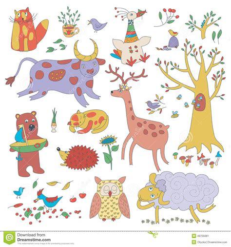 cartoon set  cute animals  plants stock vector