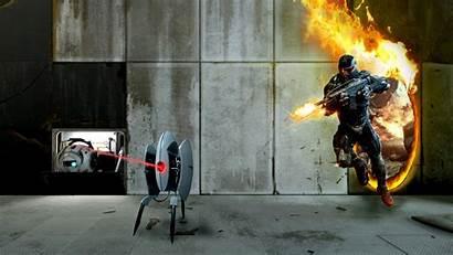 Fire Shooting Portal Games Desktop Wallpapers Crysis