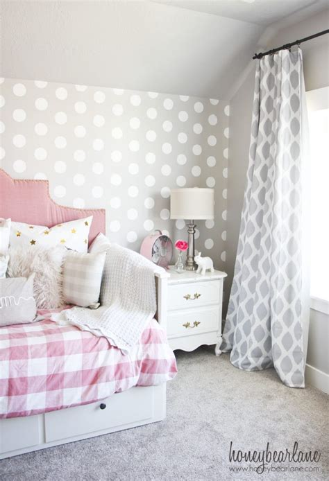 Pink And Gray Girl's Bedroom  Honeybear Lane. Farm Dining Room Tables. Open Kitchen Shelving. Scott Shuptrine. Table Behind Couch. Wingback Headboard. Usb Nightstand. Shower Size. Exterior Design
