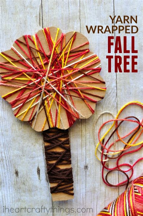 yarn activities for preschoolers yarn wrapped fall tree craft i crafty things 733