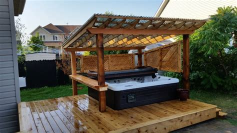 Turquoise Kitchen Decor Ideas - cedar backyard covered hot tub galvanized steel fence and u shaped deck