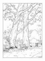 Coloring Bench Park Drawing Pages Drawings Deviantart Encrage Adult Pencil Cartoon P01 Landscape Coloriage Draw Sketches Tree Character Realistic Dessin sketch template