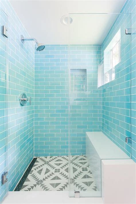 Blue Mosaic Shower Niche Tiles   Transitional   Kitchen