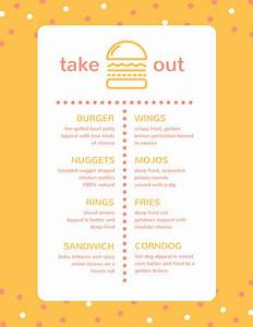 Take out menu templates canva for Take out menu template