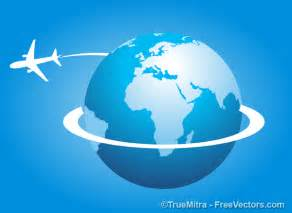 free plane around the earth vector illustration