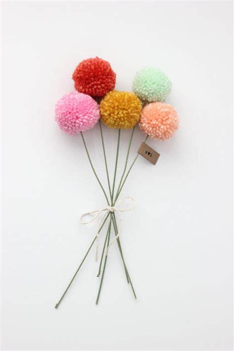 mini yarn pom pom flowers bouquet 5 from stephlovesben on etsy