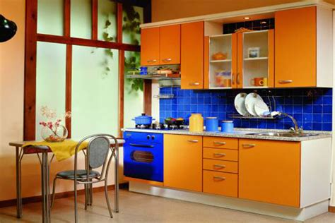 Small Kitchen Design In Yellow Blue Shades small kitchen design in yellow blue shades kitchen
