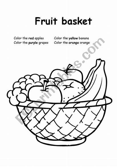 Fruit Basket Coloring Worksheet Fruits Worksheets Esl