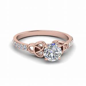 Simple Celtic Handmade Diamond Engagement Ring In 14K Rose ...