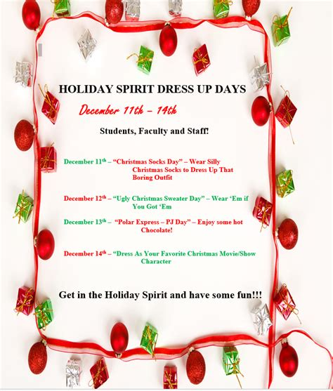 Each day of the week has a themes. Drexel R-IV School District - Holiday Spirit Week Dress Up ...