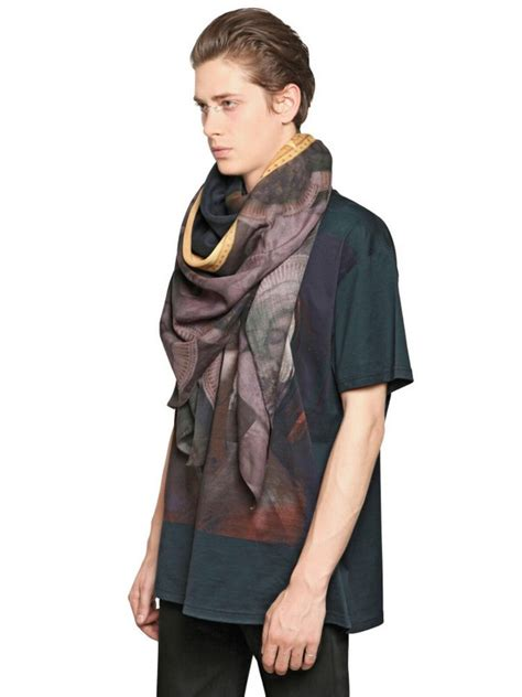 mcqueen square black lyst givenchy madonna child cotton modal scarf in black