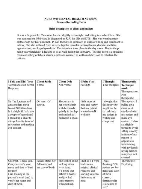 process recording template mental health process recording evaluation