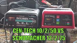 Harbor Freight Centech 10  2  50 Charger With Engine Start  60581  60653 Vs Schumacher 12  2  75