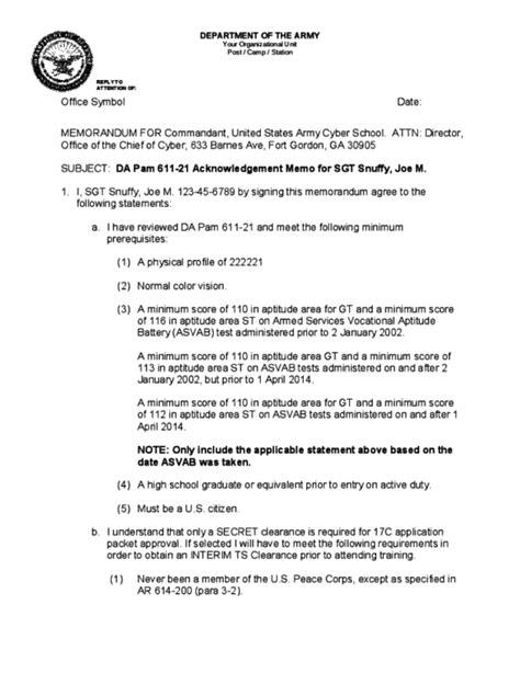 Army Memorandum Template Word