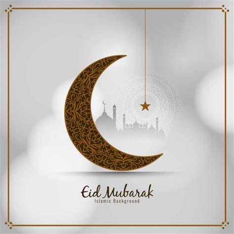 eid mubarak stylish islamic card  crescent moon