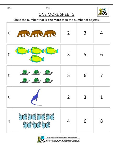 kindergarten math worksheets printable one more 364 | kindergarten number worksheets one more 5