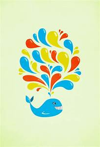 Colorful Swirls Happy Cartoon Whale