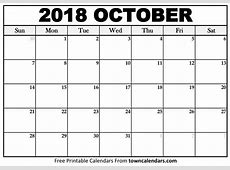 October 2018 Calendar monthly printable calendar