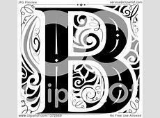 Clipart of a Black and White Vintage Letter B Monogram
