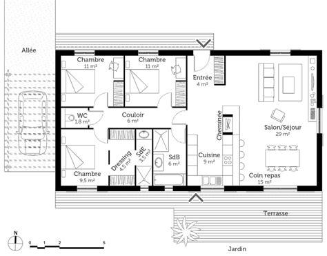 plan de maison 3 chambres plan maison 100 m avec 3 chambres ooreka