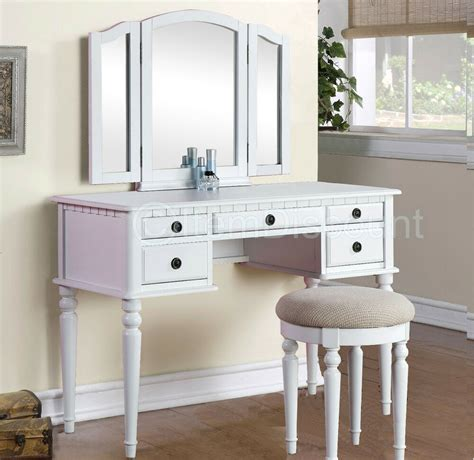 White Vanities For Bedrooms by Tri Fold White Vanity Makeup 3 Mirror Table Set Dresser