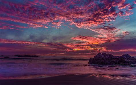 Landscape California Sunset Clouds Rock Sea Bay