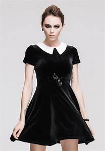 black velvet dress with white collar gothic wednesday With robe noire velours