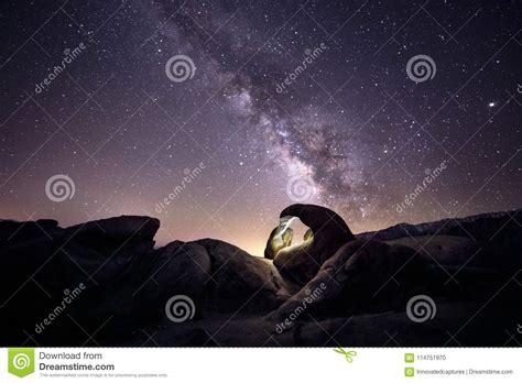 Milky Way Galaxy Over The Desert Stock Photo Image