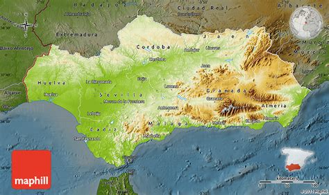 map andalucia physical spain darken maps north east west