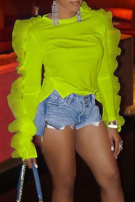 Yellow Sweat T Shirt lovely sweet flounce design yellow t shirt t shirt top