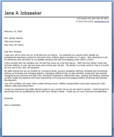 Nanny Position On Resume by Nanny Cover Letter Sle Resume Downloads