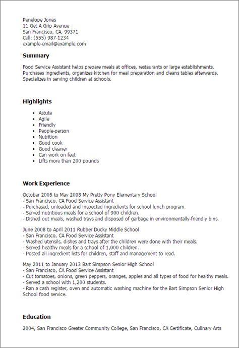 food service assistant resume template  design