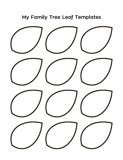 Tree Template Printout by Meeting 10 Leaf Templates For Family Tree Activity Print