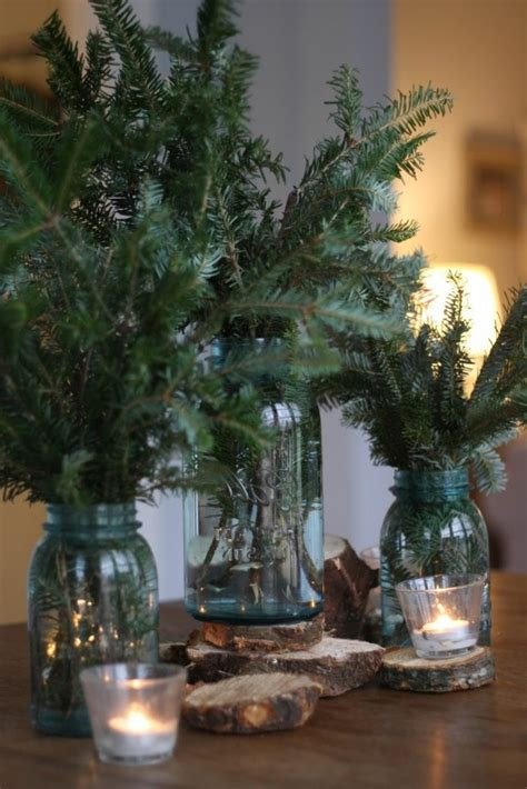 ideen fuer weihnachtliche dekoration mit tannenzweigen