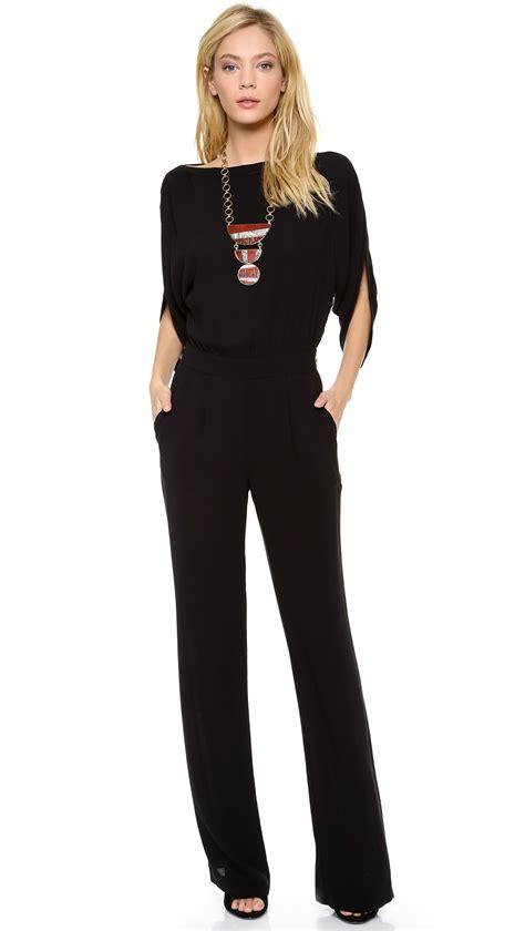 Diane Von Furstenberg Margot Crepe Wrap Jumpsuit in Black