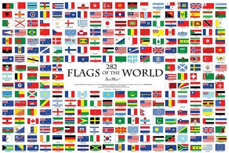 flags   world wall map poster flag map poster