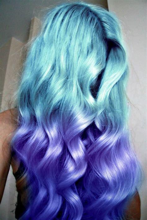 Pastel Purple Dip Dye Blue Hair Pinterest