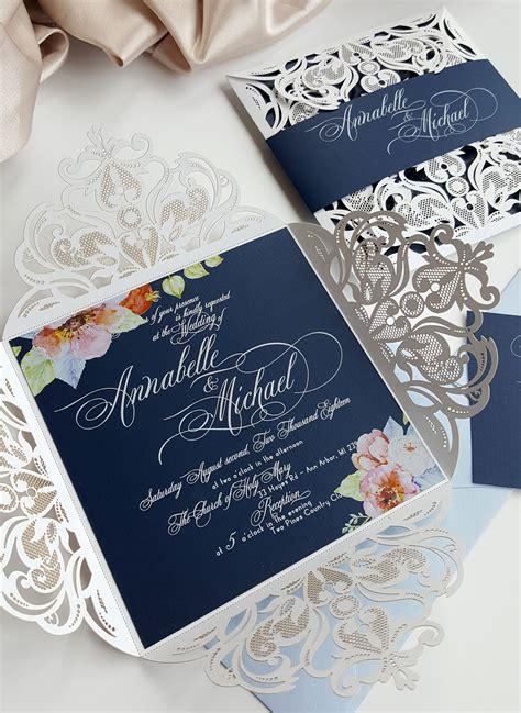 Elegant Wedding Invitation Floral Wedding Invites Navy