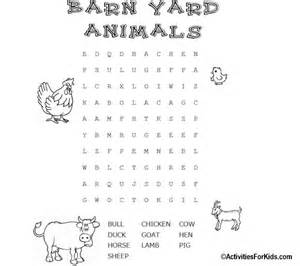 Zoo Animals Word Search Puzzle