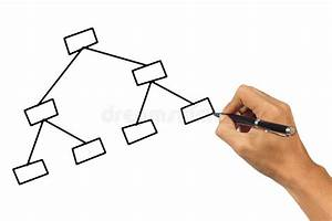 Hand Drawing Blank Network Structure  Stock Photography