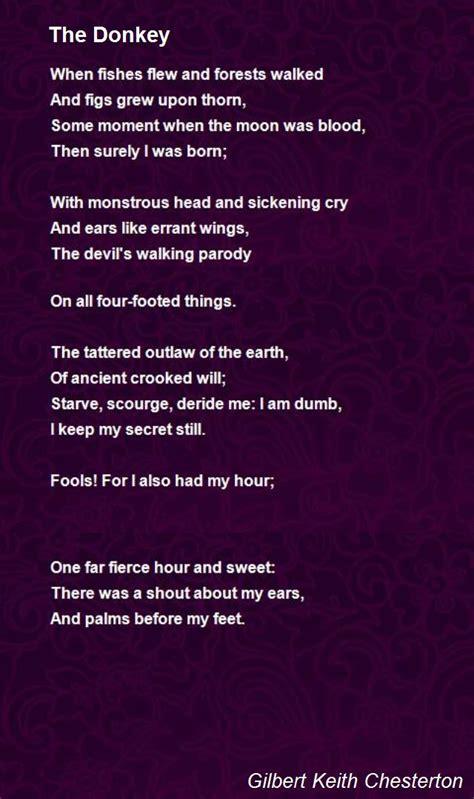 donkey poem  gilbert keith chesterton poem hunter