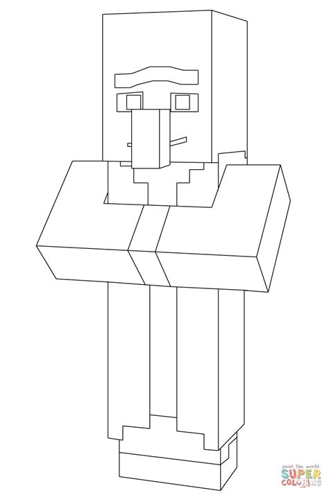 minecraft villager  minecraft coloring page