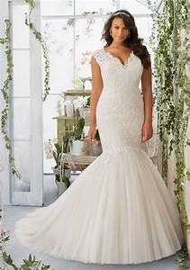 morilee bridal embroidered appliques on tulle mermaid With plus wedding dress