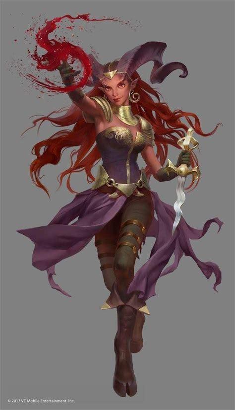 female character tiefling warlock dnd dragons dungeons wizard fantasy characters concept mage blood tieflings wizards warlocks sorceror inspiration rpg drawings