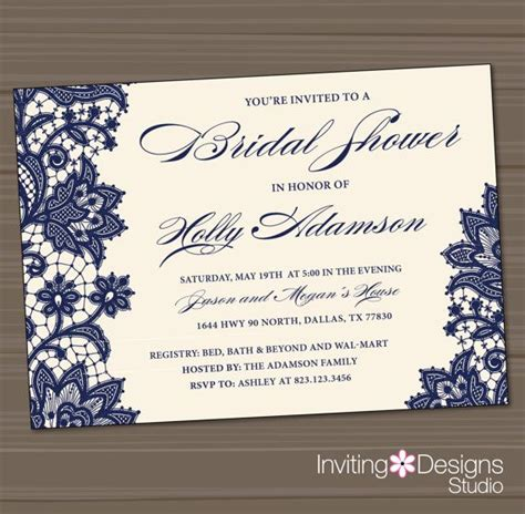 Wedding Shower Invitation Bridal Shower Invitation Lace
