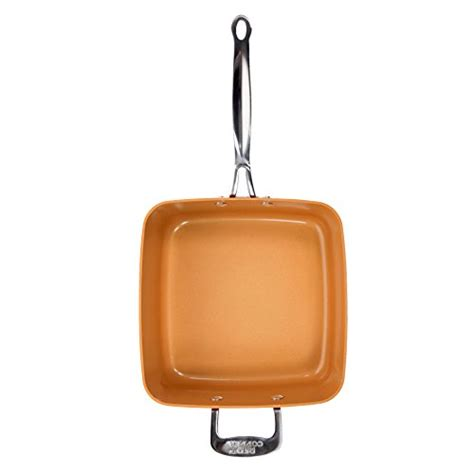 red copper square pan  piece set  bulbhead   pan glass lid fry basket
